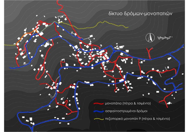 Χάρτης δικτύου δρόμων - μονοπατιών