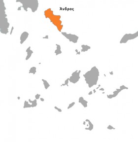 Θέση της Άνδρου στον Νομό Κυκλάδων